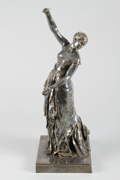 Louis Ernst Barrias, Silvered bronze lady figure