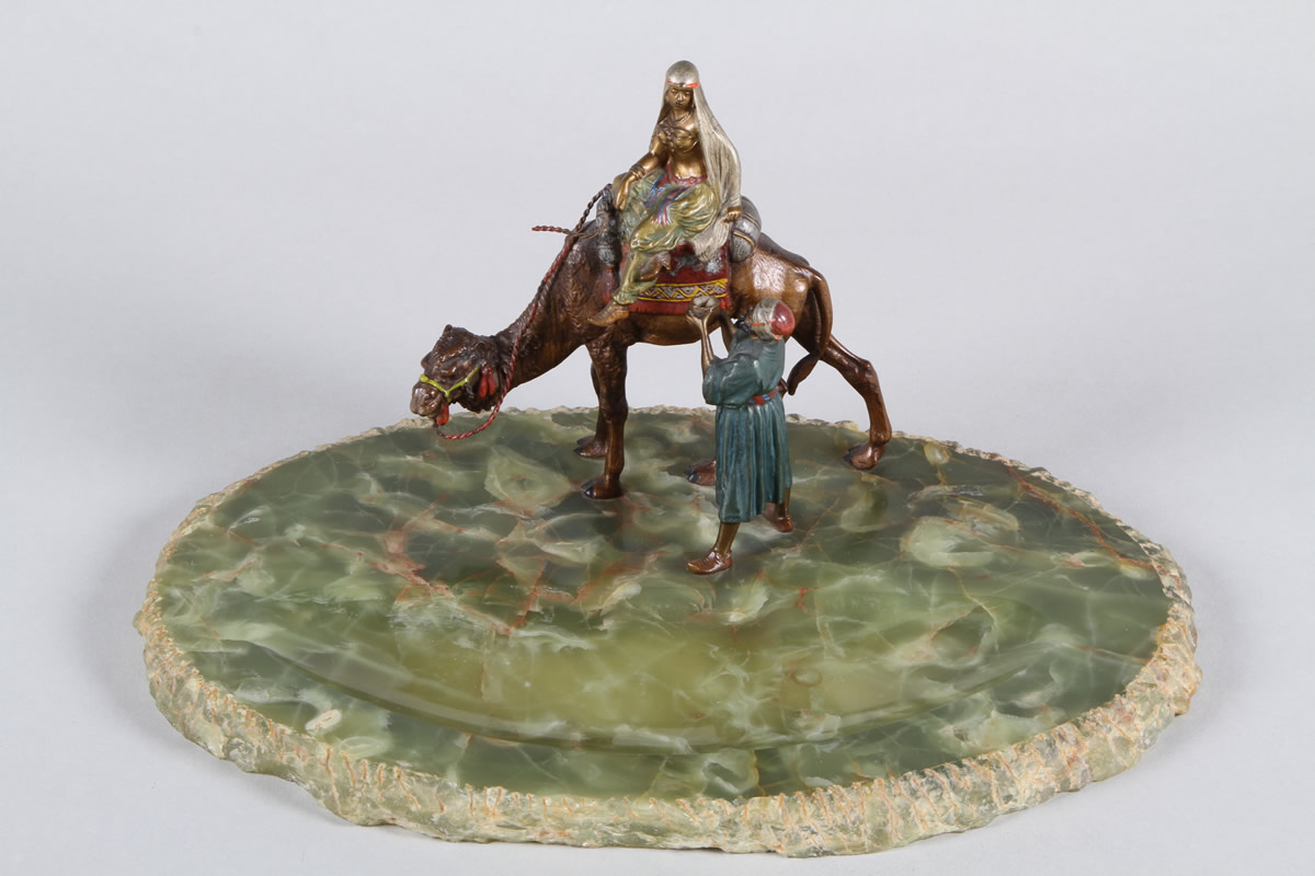 Austrian cold painted bronze and onyx desk tray