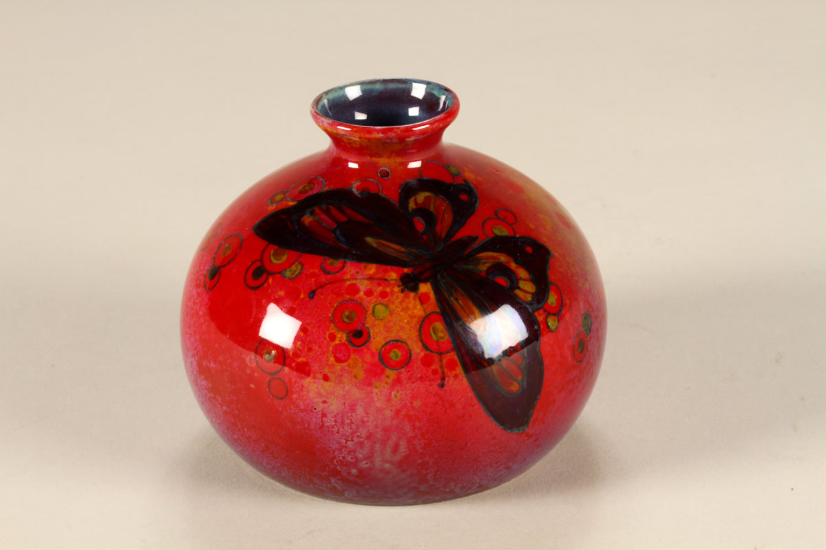 Small Royal Doulton Flambe squat vase, Sold £1900