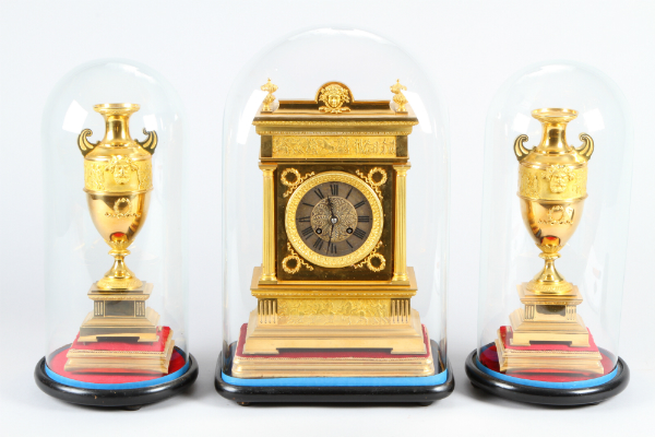 19th Century French gilt brass three piece clock garniture by Japy Freres, sold for £500