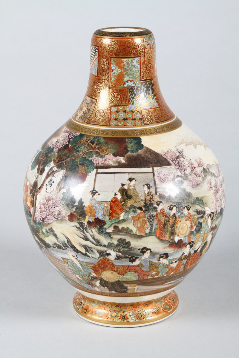 Japanese Satsuma bottle shaped vase, Sold £2,600.jpg