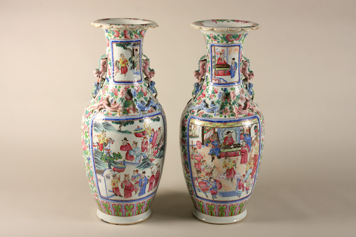 Pair Canton Vases, Sold £3100