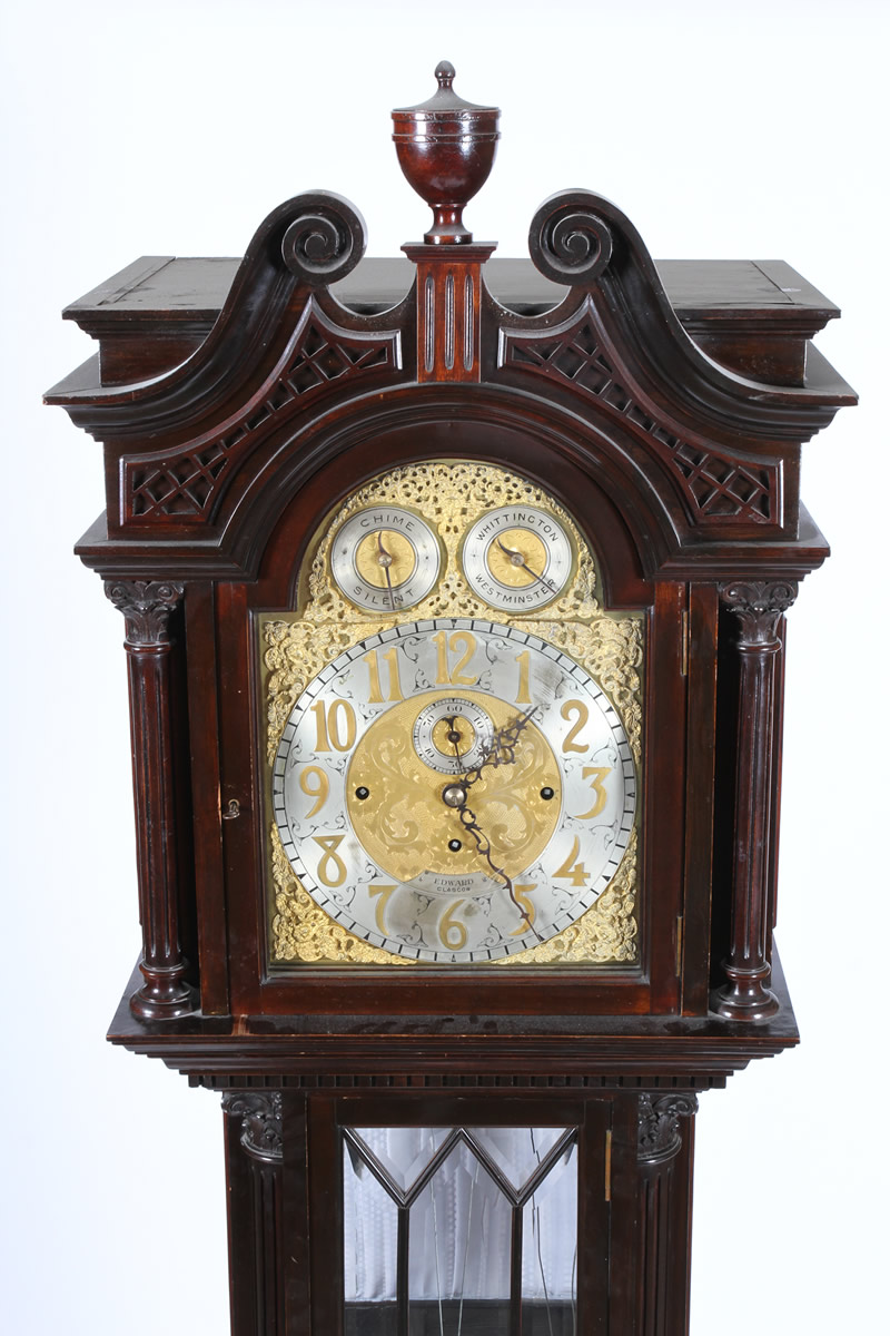 Edwardian mahogany long cased clock, Sold £3000.jpg