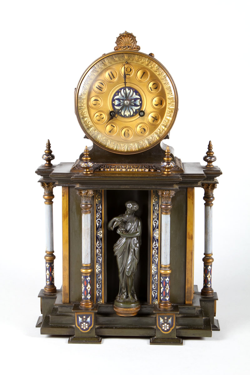 French gilt metal and bronze mantel clock, Sold £1,200.jpg