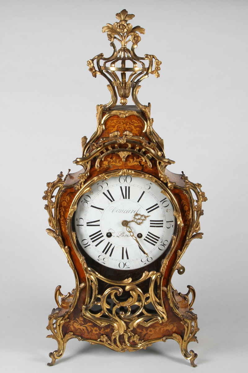 Louis XV walnut and kingswood marquetry inlaid and ormolu bracket clock, Sold £1,700.jpg