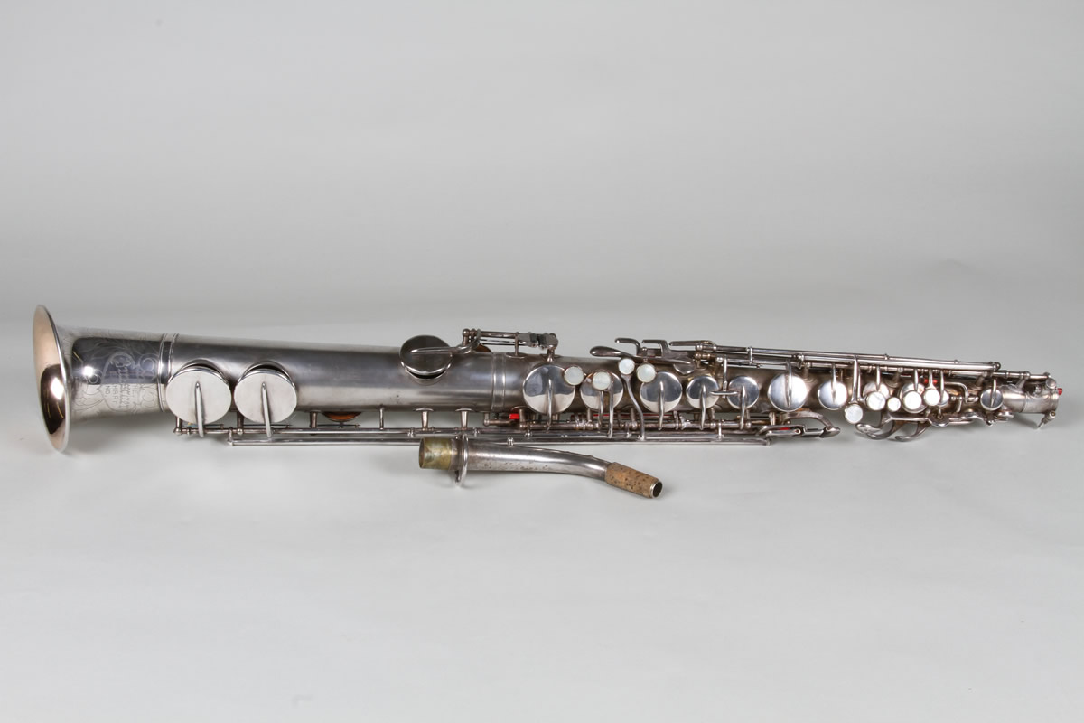 Silvered straight Saxaphone, Sold £3800.jpg