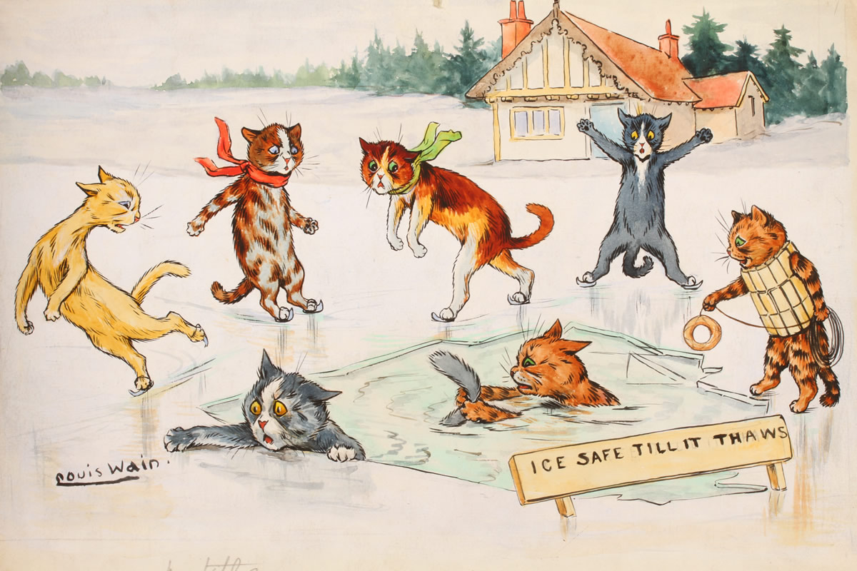 Watercolour by Louis Wain (1860-1939) Sold £3600.jpg