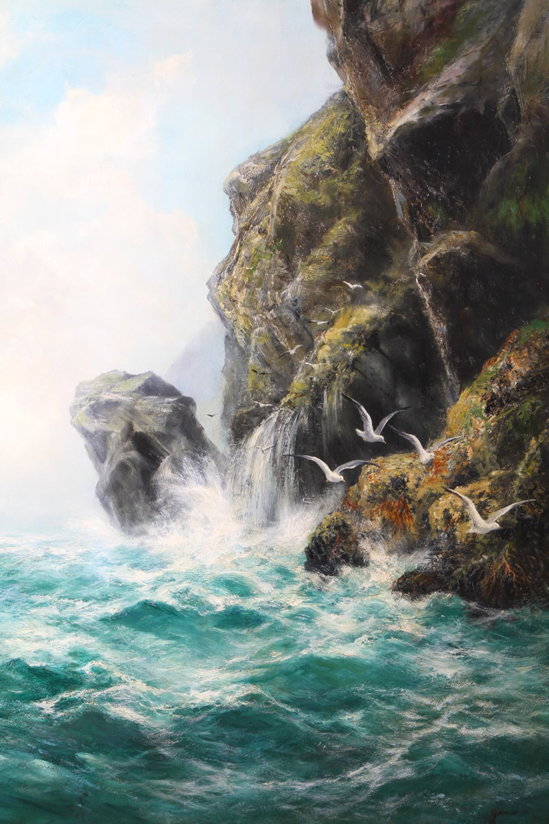David James (British 1853-1904), Gilt Framed Oil on Canvas, 'Seagrit Cliffs', Sold £1,600.jpg