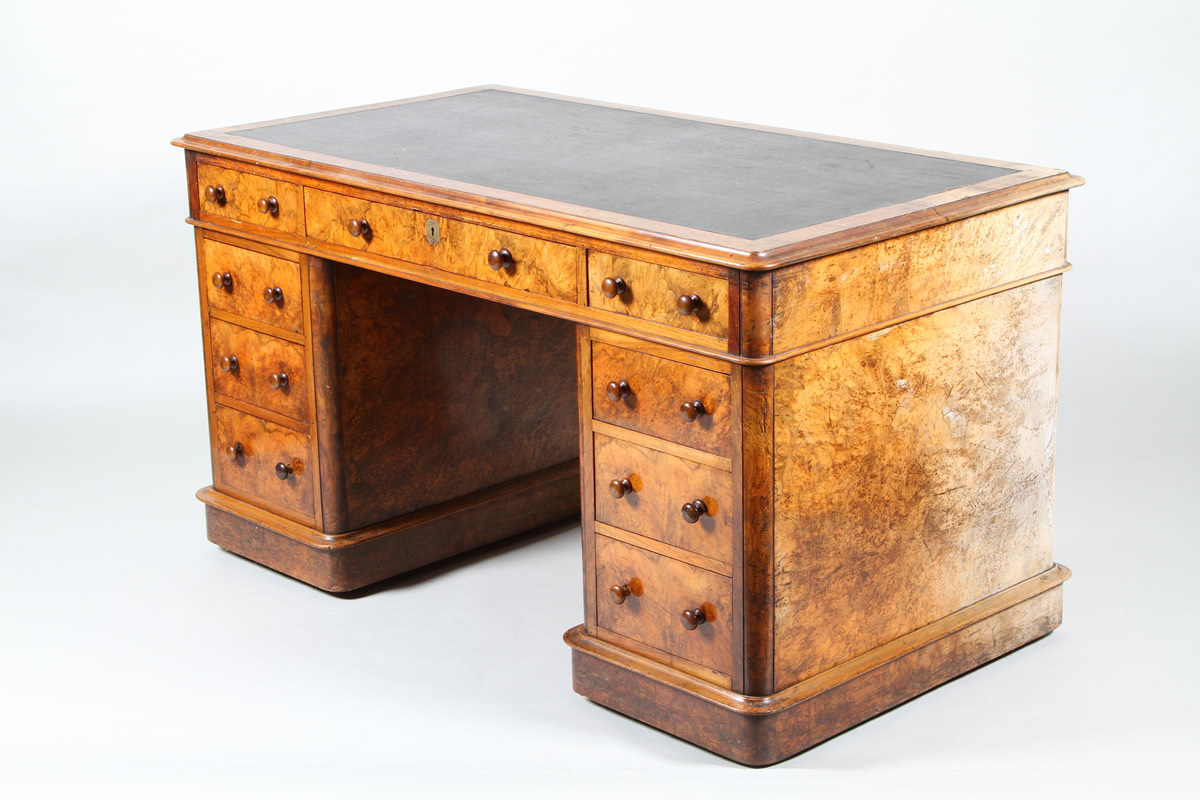 Victorian burr walnut twin pedestal desk, Sold £2,200.jpg