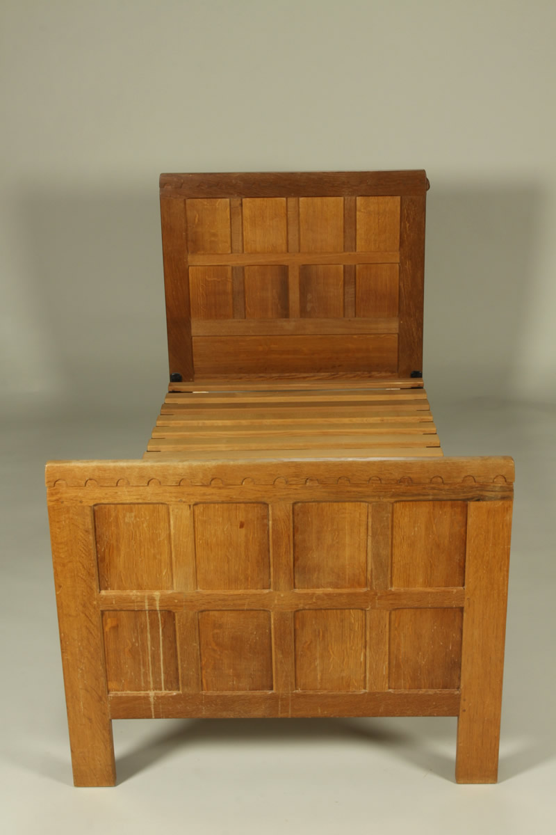 Pair Oak Beds by Mouseman Thomson, Sold £1800