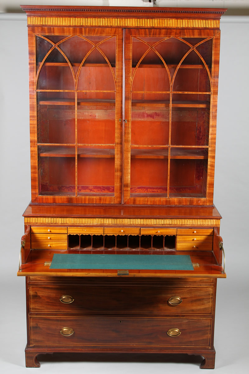 Scottish Regency mahogany and line inlaid secretaire bookcase, Sold £1,800.jpg