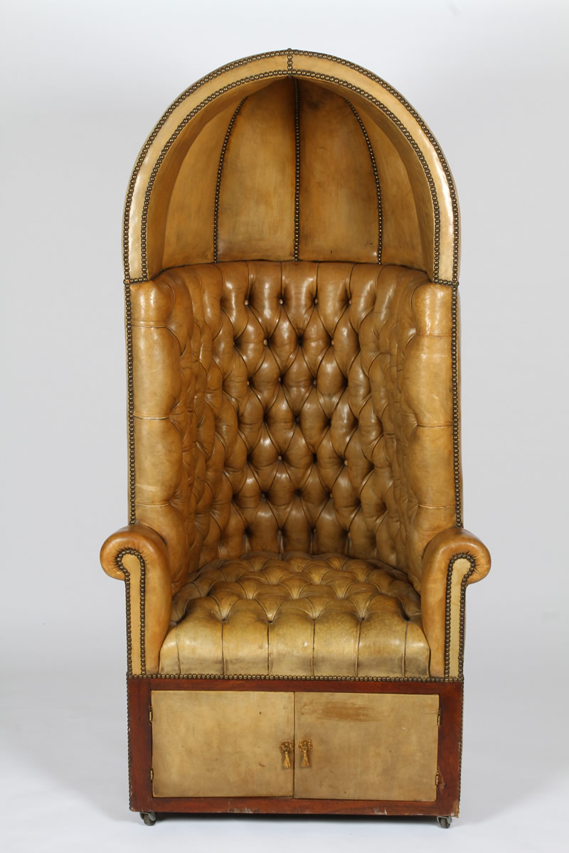 Studded leather button back hooded butler's chair, Sold £850.jpg