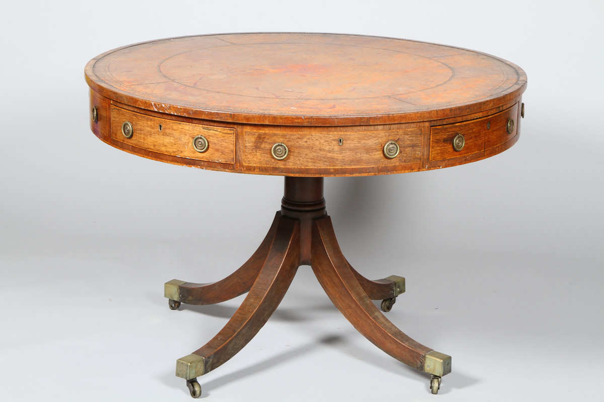 George III mahogany drum topped library table, Sold £4000.jpg