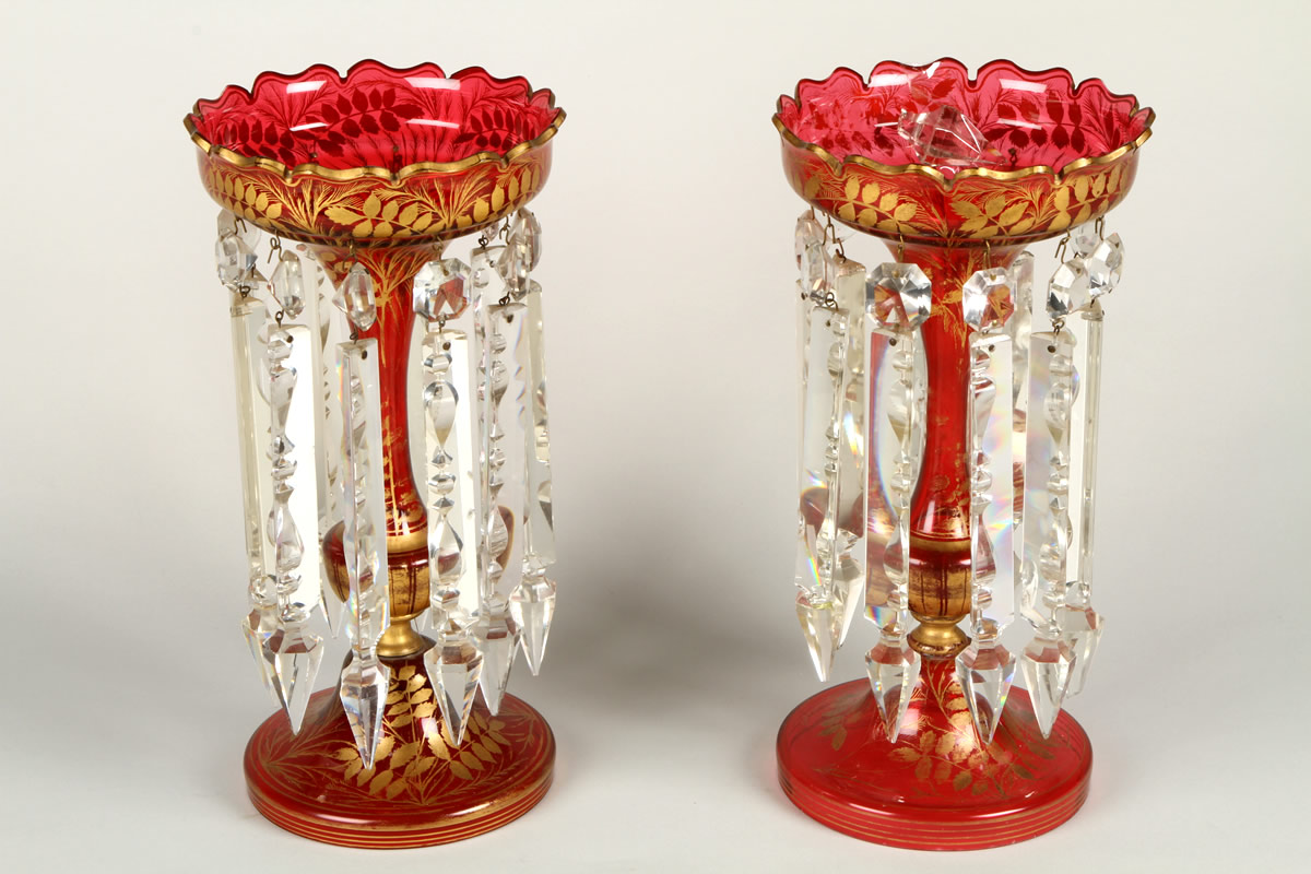 Pair Cranberry Glass Lustres, Sold £540.