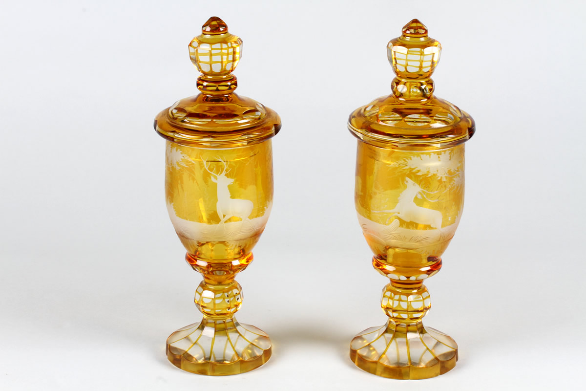 Pair Early Victorian Bohemian amber flash goblets and covers, Sold £560.jpg