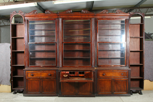 Large Mahogany breakfront bookcase, sold for £2,800