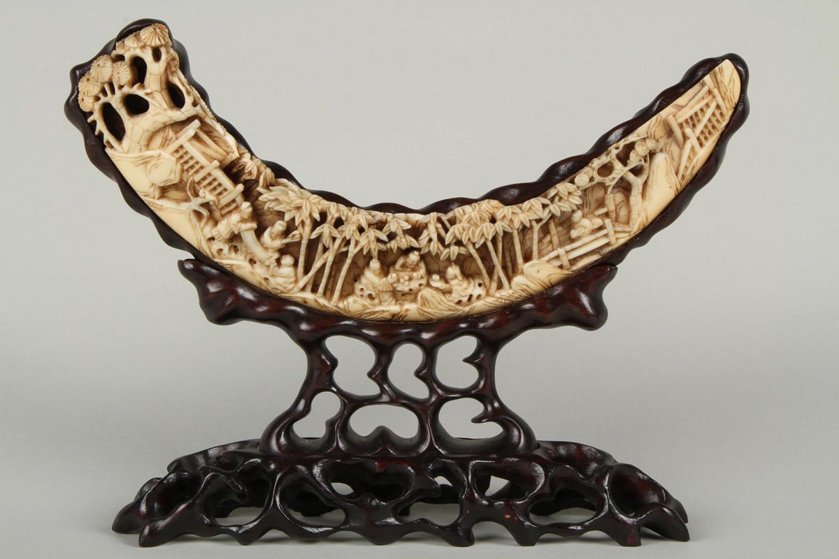 japanese carved ivory tusk. Sold £540.jpg