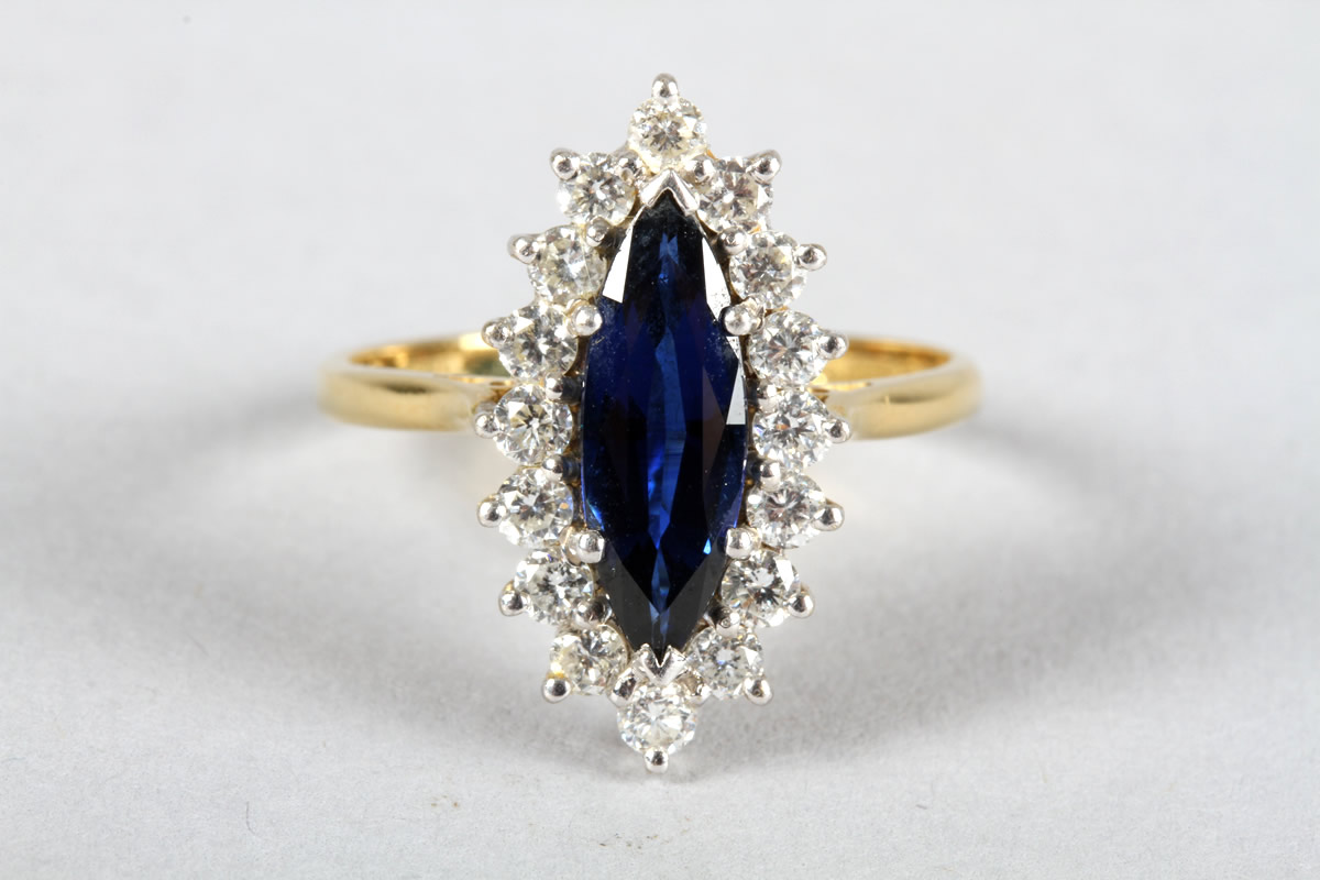 18 carat yellow gold diamond and sapphire cluster ring, Sold £650.jpg