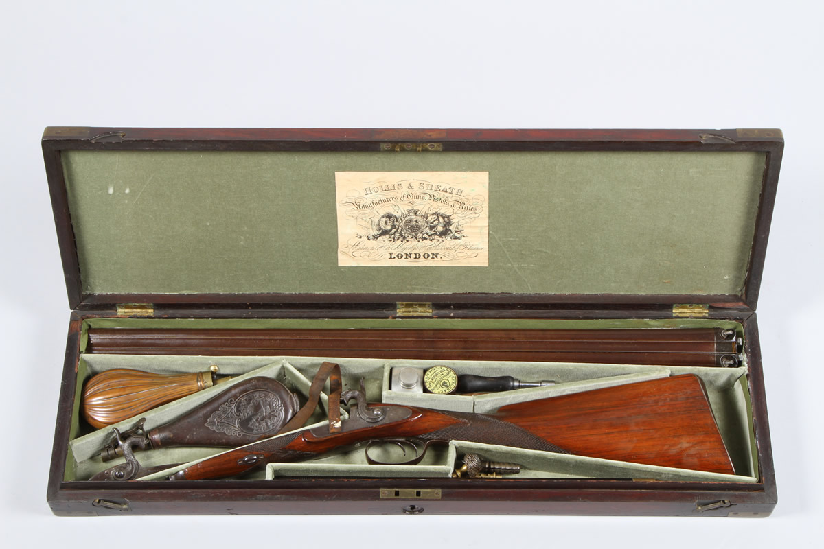 Cased Hollis and Sheath double barrelled percussion shot gun, Sold £1100.jpg