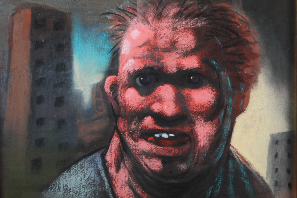 Peter Howson OBE, Framed Pastel, 'Gorbal's Joe', Sold £1,100.jpg