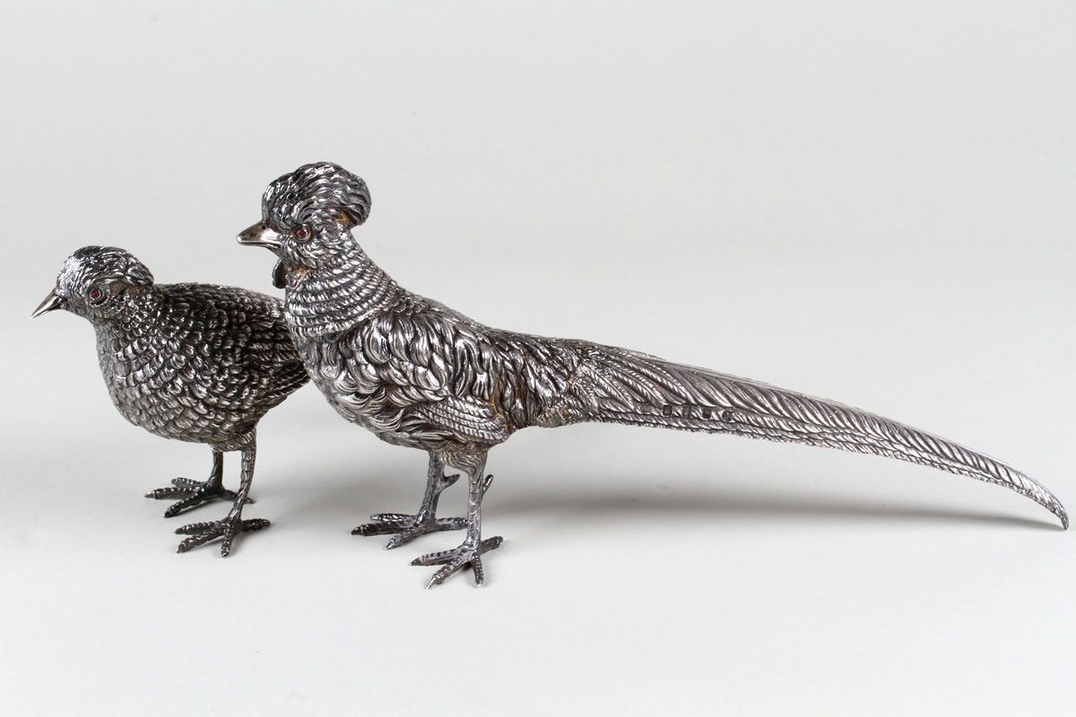Pair silver Pheasants, Dublin 1973,sold £1900