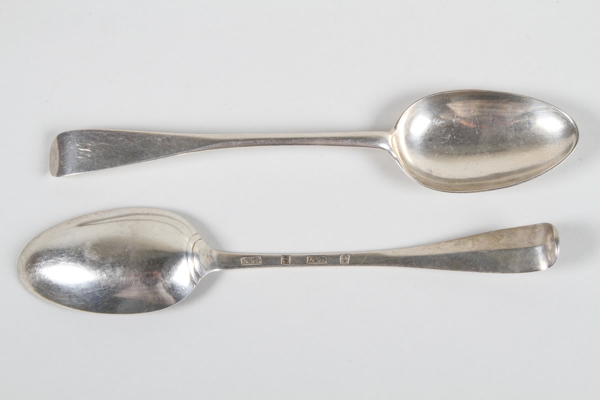 Set of six George III Scottish Provincial silver table spoons, Realised £700.jpg