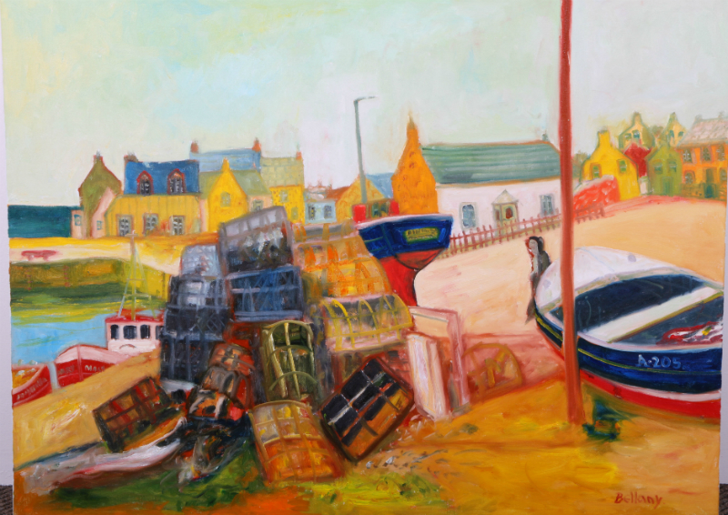 Harbour scene by John Bellany