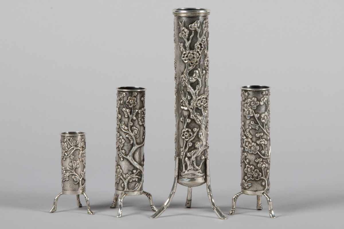 Chinese Silver Spill Vases