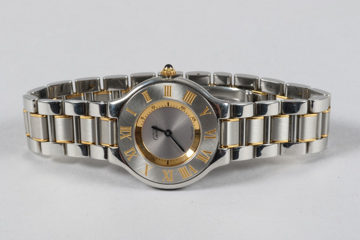 Boxed unisex stainless steel Cartier wrist watch