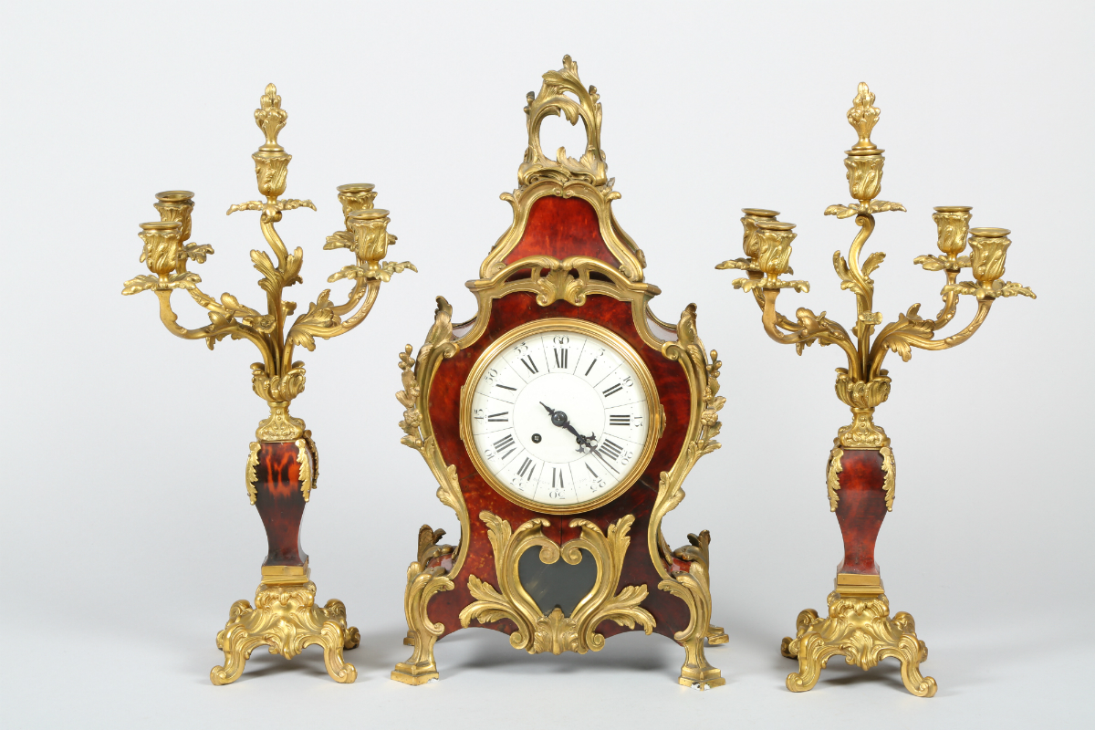 French tortoiseshell and ormolu clock garniture, sold £1000