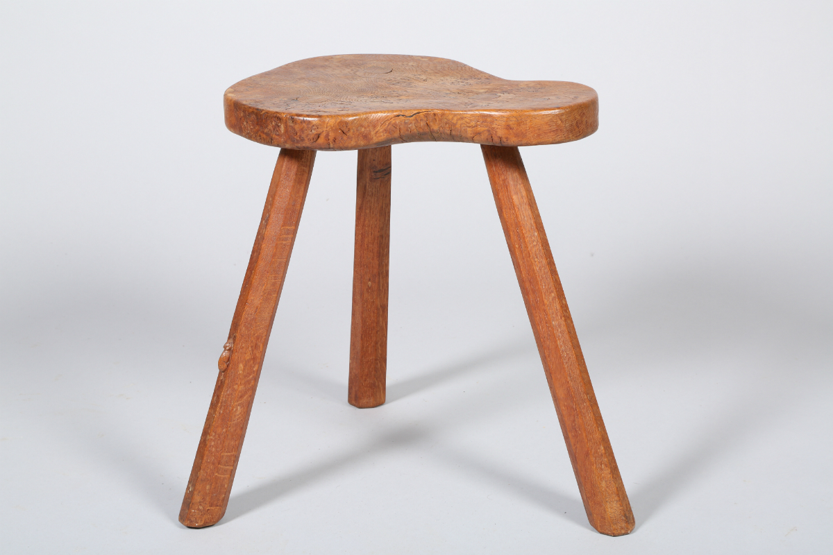 Oak stool by Mouseman, sold £650