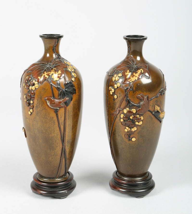 Pair Japanese bronze vases, sold £1500