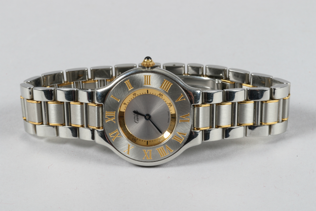 Stainless steel Cartier wrist watch, sold £800