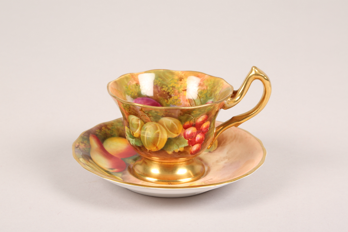 Royal Worcester cup and saucer signed Townsend, sold £240
