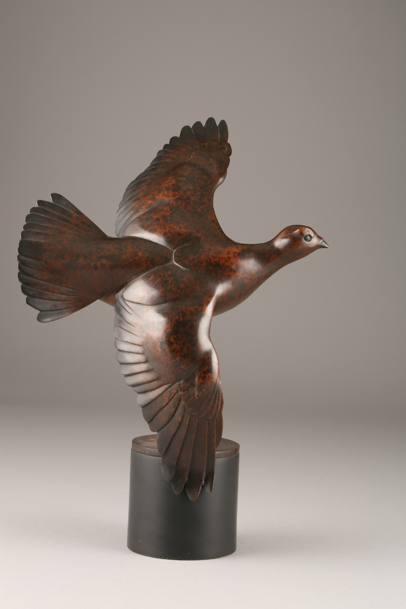 Bronze Red Grouse sculptured by Simon Gudgeon, sold £2400