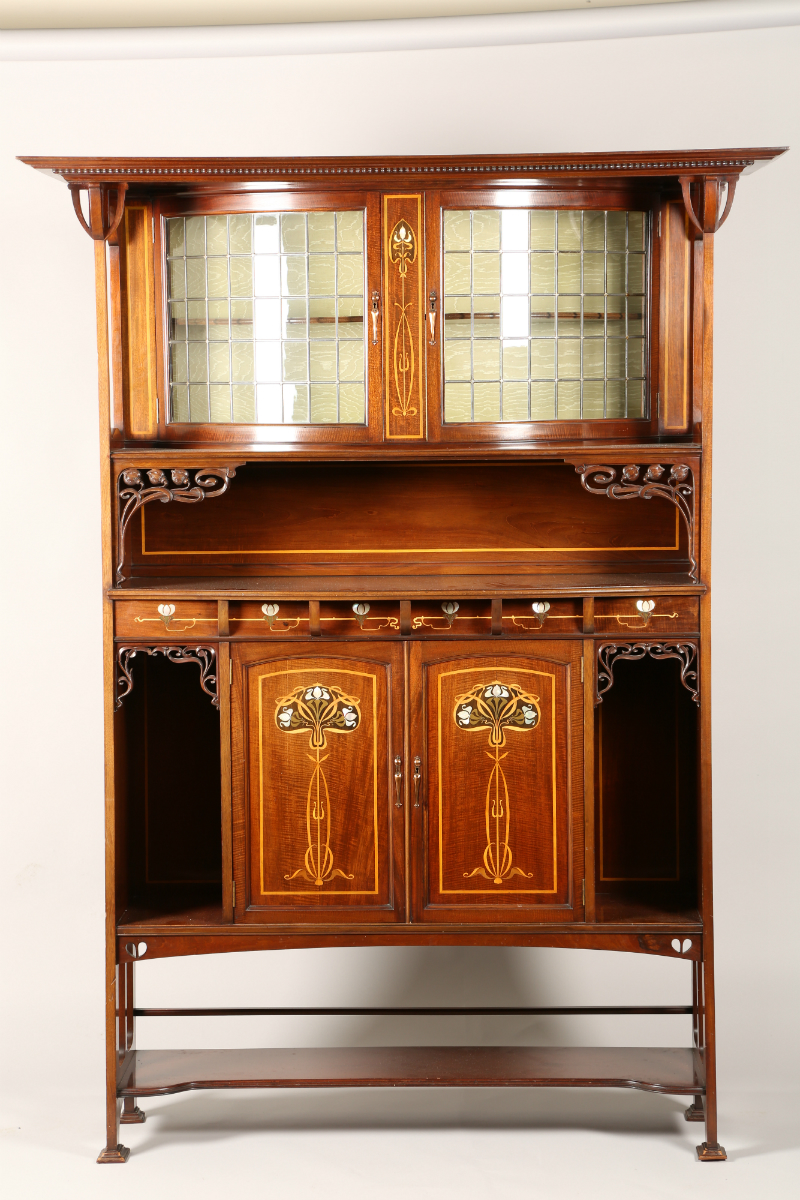 Arts and Crafts inlaid mahogany cabinet, sold £1650