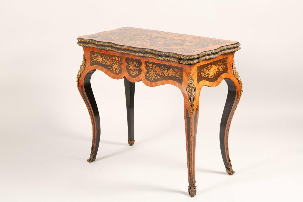 Late 19th Century French Kingwood marquetry foldover card table, sold £2000