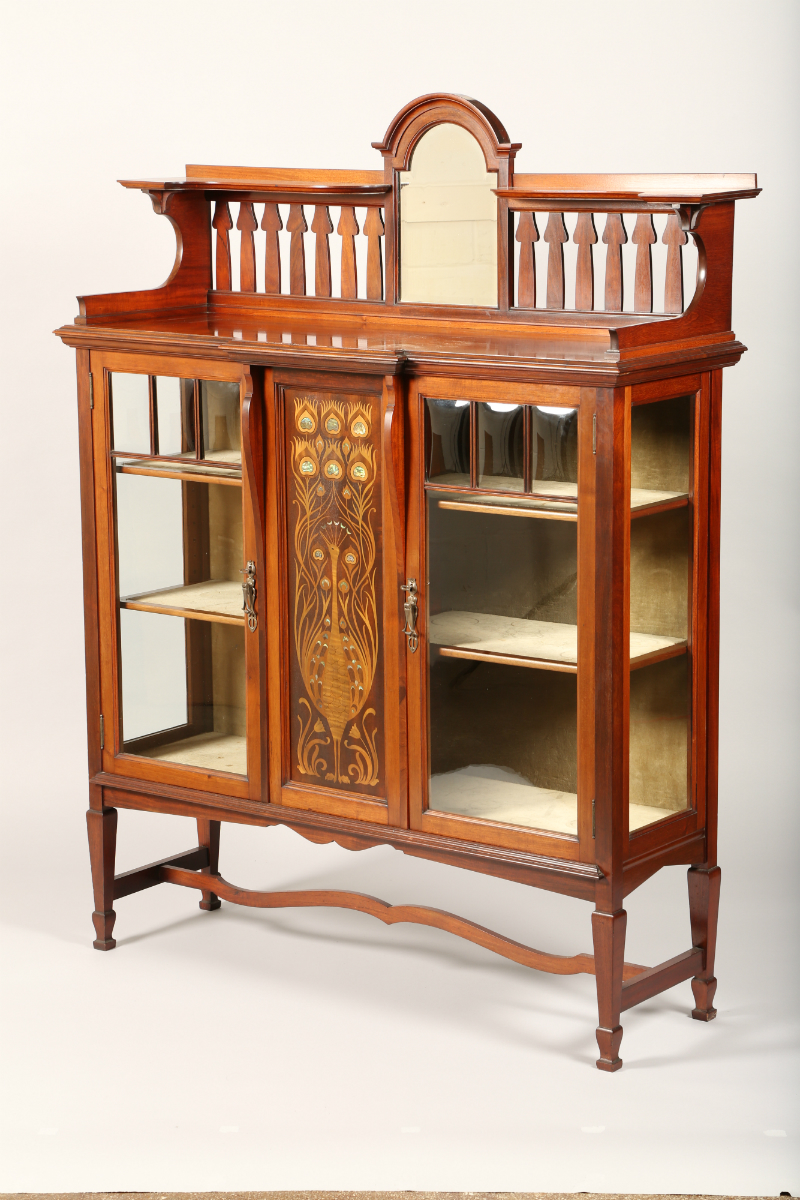 Arts and Crafts inlaid display cabinet, sold £950