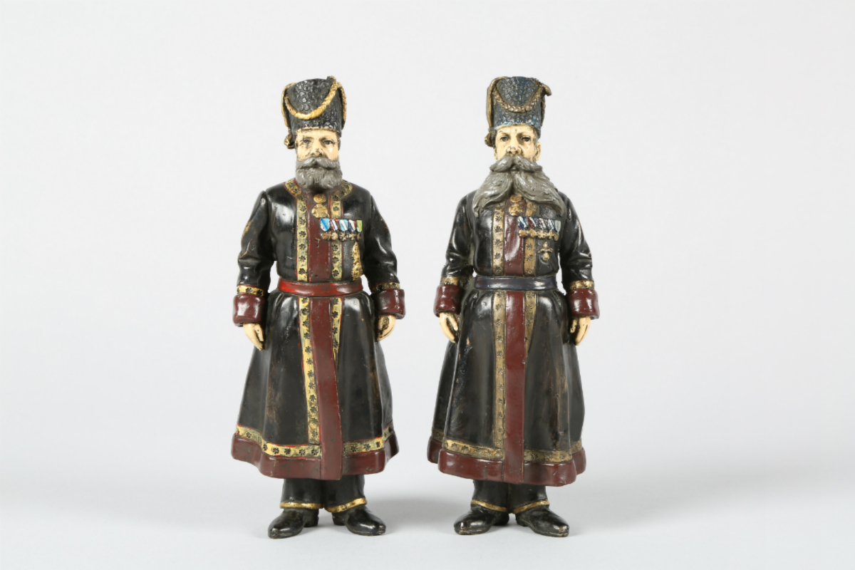 Pair of Russian Faberge Cold painted bronzes