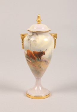 Royal Worcester vases and cover signed Harry Davis, sold £1200
