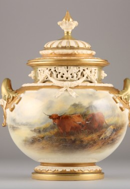 Royal Worcester bow vase and cover by James Stinton, sold £3000