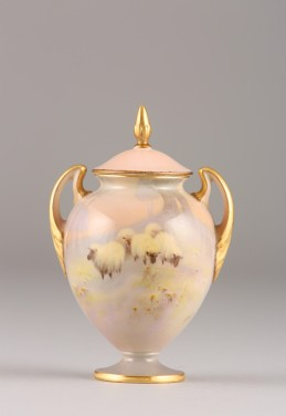 Royal Worcester vase and cover, signed Harry Davis, sold £600