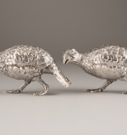 Pair of silver free standing models of partridges by C.J.V, sold £1600