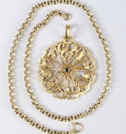18ct gold zodiac pendant, sold £1100