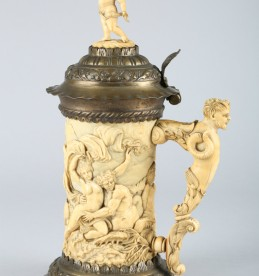 18th Century German ivory tusk flagon, sold £5000