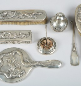 Chinese silver dressing table set, sold £480
