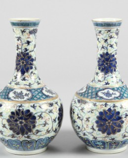 Pair late 19th/20th Century Chinese bottle shaped vases, sold for £1,700