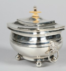 19th Century Calcutta silver tea caddy & cover, sold for £950