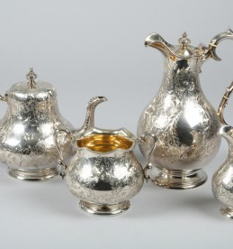 Victorian silver four piece tea service, sold £1000