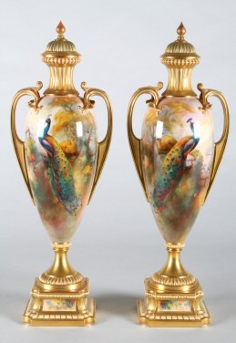 Pair of very rare Royal Worcester slender twin handled vases & cover